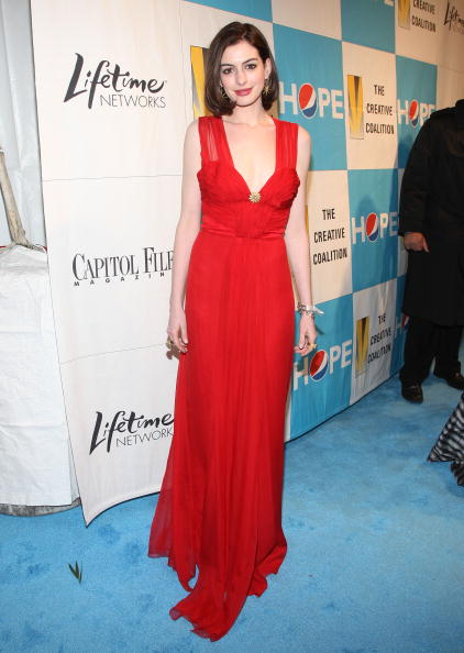 Anne Hathaway - Dress by Christian Dior - (Photo by Jason Kempin/Getty Images)